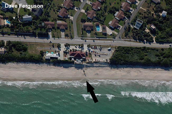 Photo of the beach from directly overhead under canopy at approximately 600 FT
